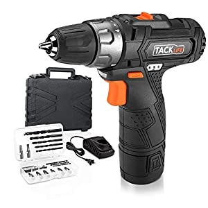 Tacklife PCD02B 12V Lithium-Ion Cordless Drill/Driver 3/8-Inch Chuck Max Torque 220 In-lbs, 2 Speed, 1 Hour Fast Charger, 19+1 Position with LED, 17pcs Drill/Driver Bits Included, Black