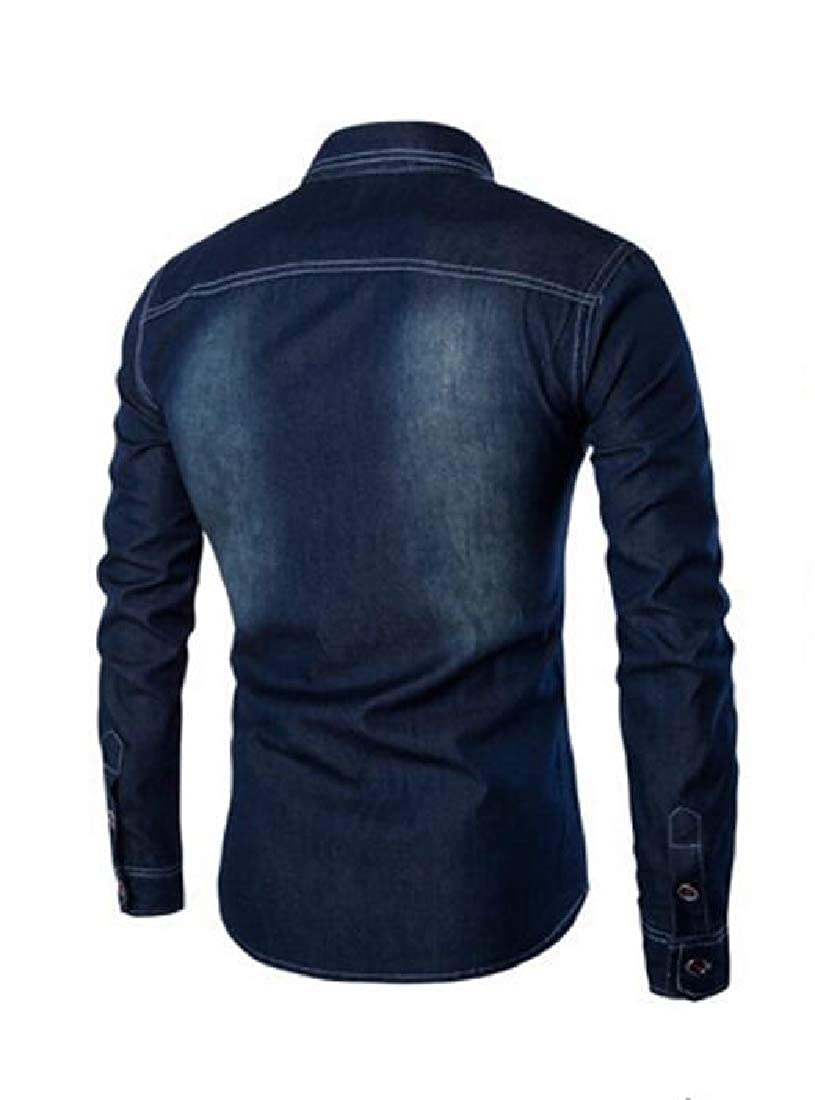 pipigo Men Denim Long Sleeve Casual Lapel Neck Pocket Button Down Shirts