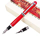 Duke Red Fountain Pen Double-Nibs Iridium Medium and Fude Calligraphy Nib Interchangeable Writing Gift Box Set for Office/Business/Art/Painting