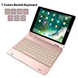 iPad 9.7 Case with Keyboard, Addprime 7 Colors Backlit 360°Rotating Angles Aluminum Alloy Shell and Back Plate Chocolate ABS Button Wireless Keyboard for 2016/2017/2018 iPad 9.7 inch Rose Gold