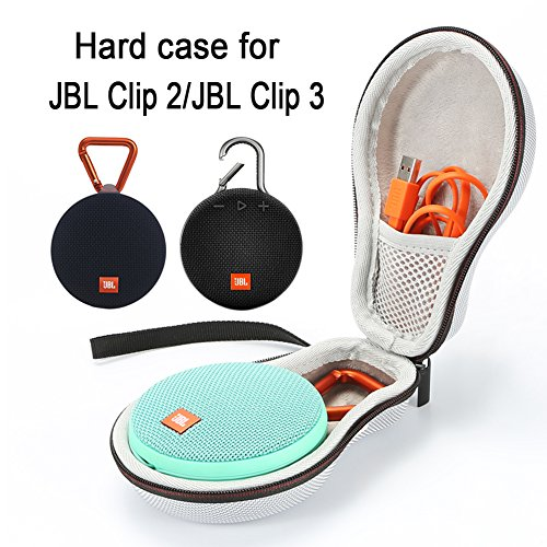 Hard Case Travel Carrying Storage Bag for JBL Clip 2/JBL Clip 3 Wireless Bluetooth Portable Speaker. Fits USB Cable - Silver
