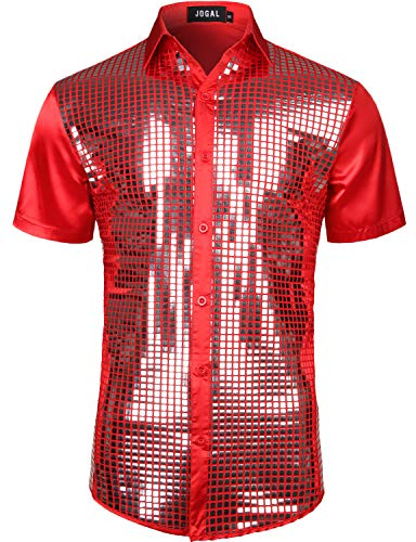 JOGAL Mens Dress Shirt Silver Sequins Short Sleeve Button Down 70s Disco Shirt Party Costume (Red Silver, Large) -
