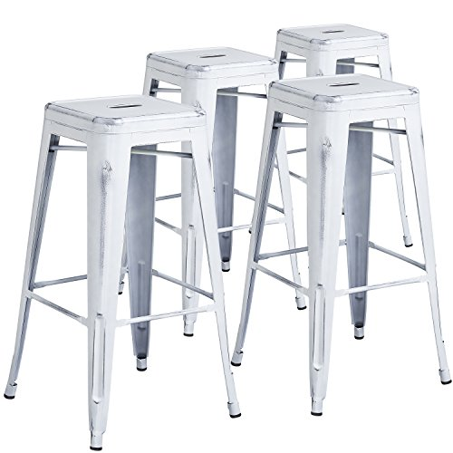 Flash Furniture 4 Pk. 30'' High Backless Distressed White Metal Indoor-Outdoor Barstool - White Cap Plastic Drain