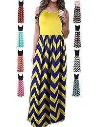 Women's Summer Chevron Striped Print Dress Tank Long Maxi Dresses for Women
