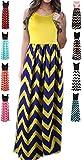 HanDanGe Women's Summer Chevron Striped Print Dress Tank Long Maxi Dresses For Women Yellow-S
