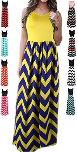 Floral Maternity Jersey - LIYOHON Womens Summer Striped Print Loose Maxi Dress Contrast Sleeveless Tank Top Floral Print Long Maxi Dresses for Women (Small, Yellow-1)