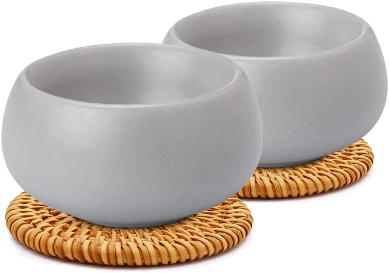 ZENS Chinese Tea Cup,Matte Ceramic Teacup Set of 2 for Loose Leaf Tea Pots,1.85 Ounce 55ml Grey Kongfu Tea Cups with 2 Rattan Coasters for Women