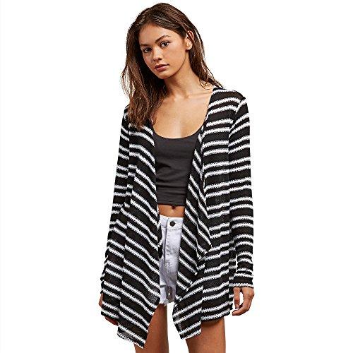 Multi Stripe Wrap Sweater (Volcom Junior's Go Open Wrap Sweater, Black Stripe, XL)