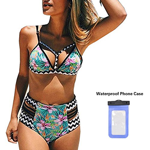 Cute Print High Waisted Bathing Suits for Women Two Piece Swimsuits Cut (High Waisted Buckle)