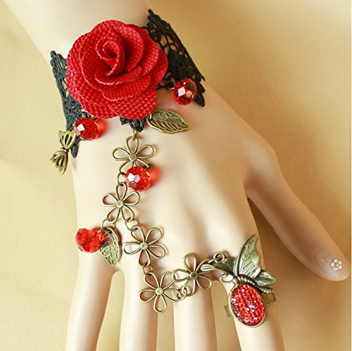 Life in AD 3000 Halloween Masquerade Costume Cosplay Party Restoring Ancient Ways Butterfly Black lace Red Roses Female Bracelet with Ring -