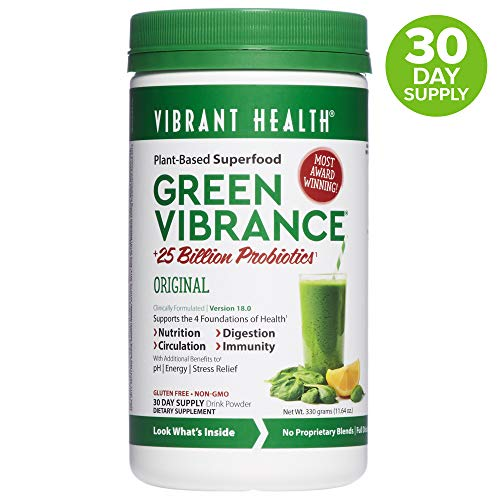 Vibrant Health, Green Vibrance, Plant-Based Superfood Powder, 25 Billion Probiotics Per Scoop, Vegetarian and Gluten Free, 30 Servings