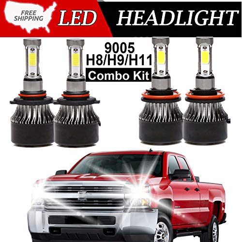 9005 H11 LED Headlight High Beam/Low Beam Combo Set For Chevy Silverado 1500/2500 HD / 3500 HD (2008-2015), 4 Sides COB Chips 12000LM High Power Car Upgrade Lights Conversion Kit