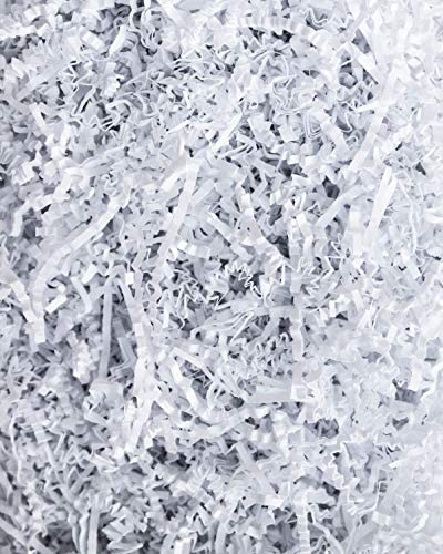 """""""Soft & Thin"""" Cut Crinkle Paper Shred Filler (2 LB) for Gift Wrapping & Basket Filling - White 