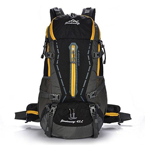 Mountaineering Bag 40L Outdoor Männer und Frauen Schulter Paket atmungsaktive wasserdichte Taschen Wanderrucksack Bergsteigen , schwarz
