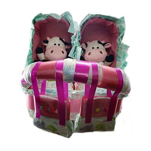 Tarta de Pañales Carrito Gemelos de Cosmética Natural Infantil: Amazon.es: Hogar