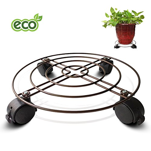 Flower Pot Pallet With Four Wheels, Plant Standing Planter Trolley Casters Rolling Tray Coaster (Four Coaster Tray)