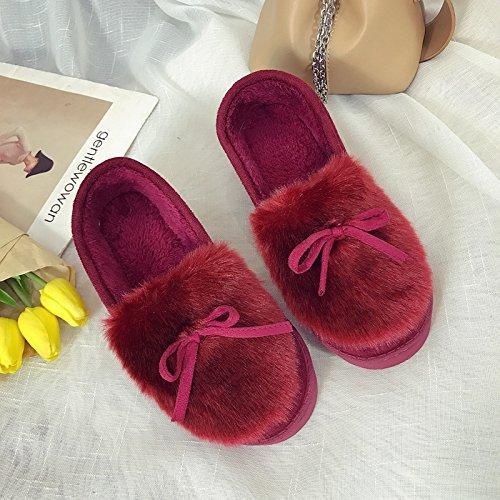 Aemember invierno zapatillas de algodón hembra Bolsa inferior grueso con cálidos Zapatos Zapatos gamuza Home Furnishing Home zapatillas,Thirty-Eight,(vino rojo) Thirty-eight (wine red)