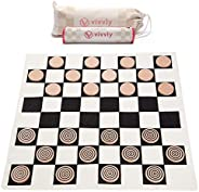 VIVVLY Deluxe Giant Checkers Game for Kids and Adults. The Only Jumbo Checkers Board Game for Adults and Kids