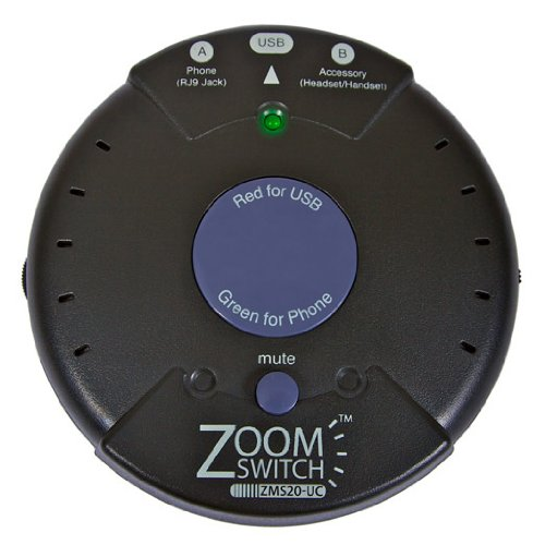Zoom Switch, Inc - Zoomswitch Zms20-Uc Headset Adapter For Phone And Pc With Vol. And Mute