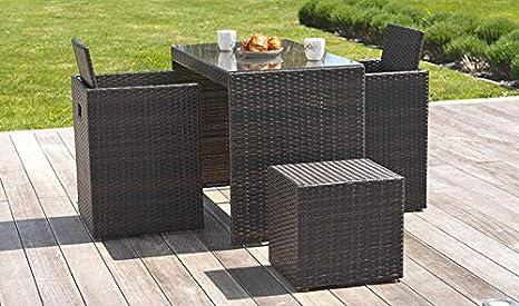 DCB Garden - Juego de jardín encastrable: Mesa, 2 sillones y ...
