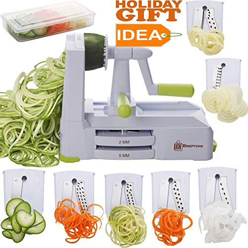 Brieftons 7-Blade Spiralizer: Strongest-and-Heaviest Duty Vegetable Spiral Slicer, Best Veggie Pasta Spaghetti Maker for Low Carb/Paleo/Gluten-Free, With Container, Lid, Blade Caddy & 4 Recipe ()