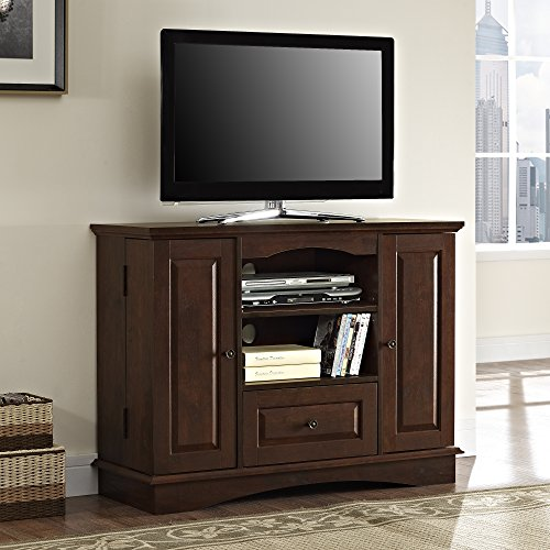 "Walker Edison 42"" Highboy Style Wood TV Stand Console, Brown"