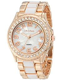 Womens Watch Rose Gold Tone and White Bracelet Crystal Bezel Designer Jade LeBaum - JB202744G