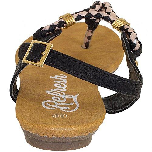 Refresh Shoes - Sandalias de vestir de Piel para mujer Negro negro Negro - negro