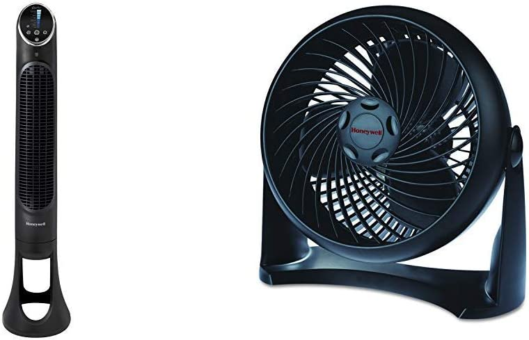 Honeywell QuietSet Whole Room Tower Fan-Black, HYF290B, Black, Black &HT-900 TurboForce Air Circulator Fan Black