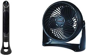 Honeywell QuietSet Whole Room Tower Fan-Black, HYF290B, Black, Black &HT-900 TurboForce Air Circulator Fan Black