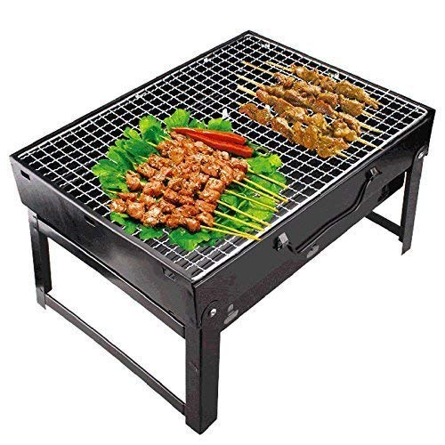 FEELING MALL Stainless Steel Folding Portable Mini Picnic BBQ Grill and Smokeless Kamedo Stove, Standard, Black