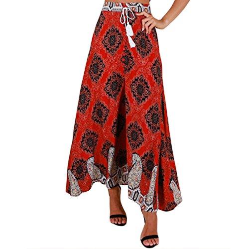 New Femme Jupe Longue Bohme Floral Imprimer Split Taille Haute Maxi Long Beach Jupe Red