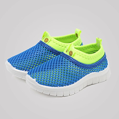 CIOR Kids Light Weight Sneakers AquaShoes Breathable Slip-on For Running Pool Beach Toddler/Little Kid,S633Blue,22 6