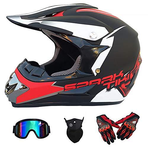 Y.P Full Face Dual Sport Motocross Crash Helmet Off Road Motorbike Helmet Gloves Goggles Mask Set for ATV/MX/BMX/DH/Enduro/MTB (B,XXL) ()