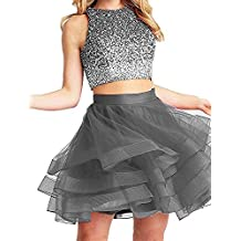Fanciest Women's Beaded Two Pieces Homecoming Dresses 2017 Ruffles Short Prom Gowns