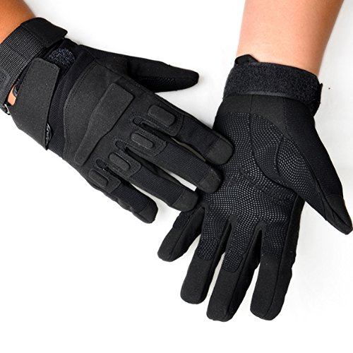 - K-mover Special Full Finger Assault Gloves Tactical Military Combat Shooting Gloves (Black, Large)