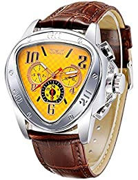 Man Mechanical Wristwatch Triangle Case Semi Automatic Watch with Date/Week/24H Sub-dials