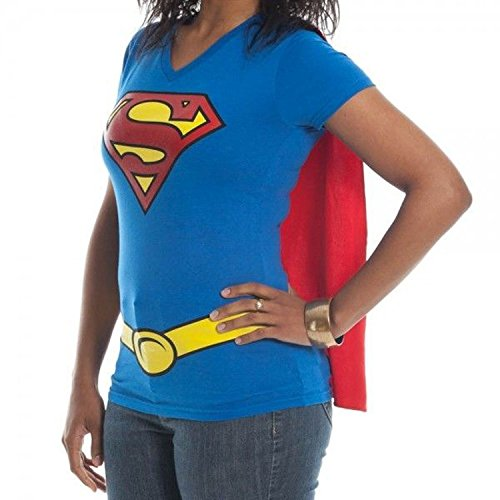 Supergirl Juniors Royal V-neck Cape Tee (XX-Large)