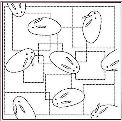 (Sashiko Fabric - Pre-printed Sashiko Sampler - Bunnies on the Trail # 42 - WHITE)