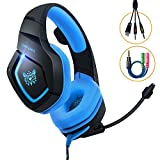 Gaming Headset PC, MillSO K1 PS4 Gaming Headphone Over-ear headband for Xbox one Nintendo Switch with Stereo Noise Canceling Mic LED Light 3.5mm Audio Splitter Cable--Blue