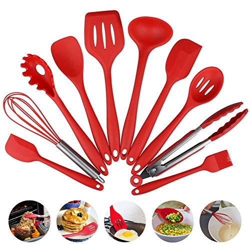 10pcs / set Heat-Resistant Silicone Kitchenware,Silicone Cooking & Baking Tool Sets Spatula Tongs Ladle Gadget?Red?