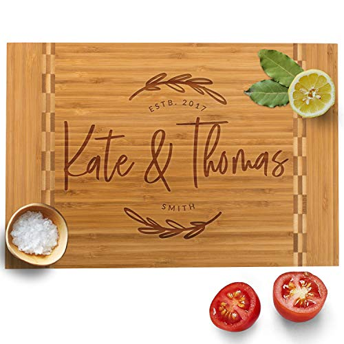 Personalized Cutting Board, 12 Designs & 3 Sizes, Bamboo Cutting Board, Wedding Gifts for Couple, Housewarming Gift & Kitchen Sign - Butcher Block Inlay Board #G]()
