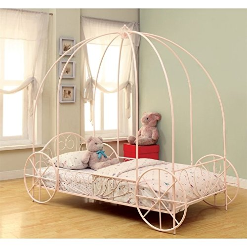 Large Carriage (Coaster Home Furnishings Massi Twin Canopy Carriage Bed Powder Pink)