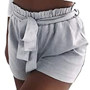 RAINED-Women's Harem Shorts Summer Casual Drawstring Waisted Bow Tie Shorts Pure Color Pocket Short Pants