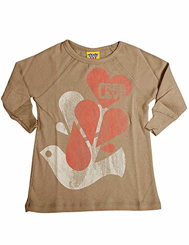 - Junk Food - Little Girls' Long Sleeve Thermal Free Love Tee Shirt, Taupe, Rose 11142-5