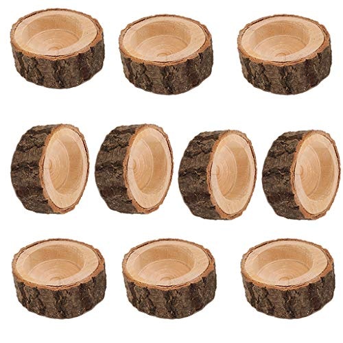 Flameer 10PCS Wooden Branch Stake Candle Holder Votive Tealight Holder for Home Wedding Christmas Party Valentine's Day Decoration - 6x2.5cm ()