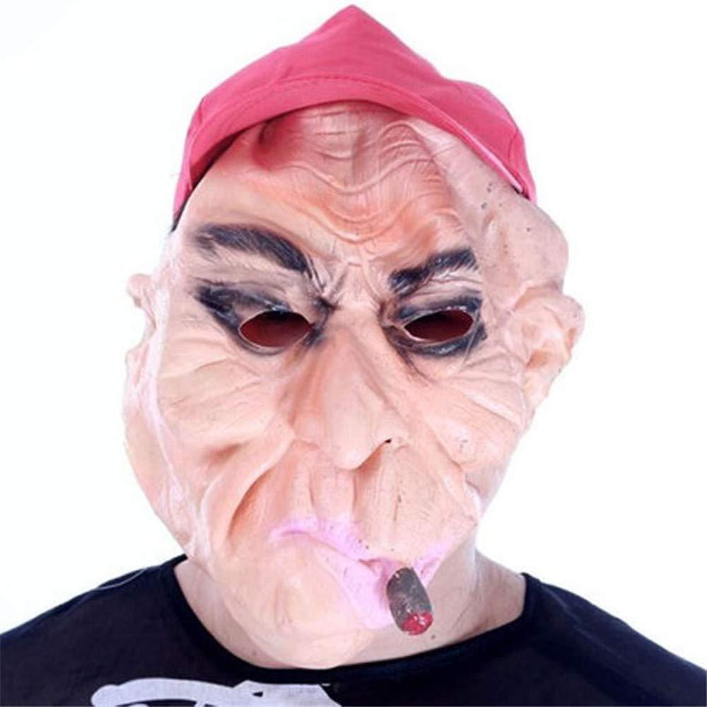 ILYMJ Maschera di mascheramento in lattice di terrore Maschera di mascheramento in silicone di lattice di Halloween Maschera di maschere di cappello rosso Maschere
