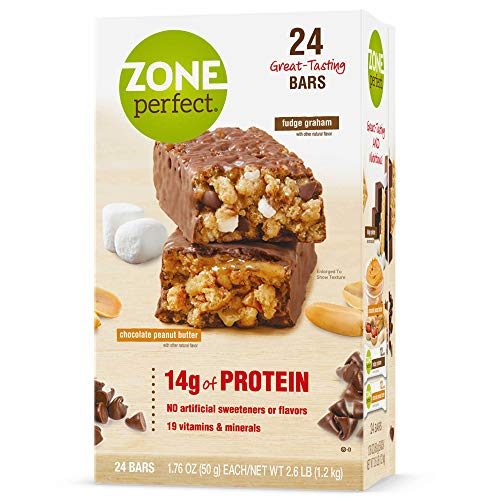 ZonePerfect Nutrition Bars Chocolate Peanut Butter / Fudge Graham 14g Protein 24 Bars 1.76oz each