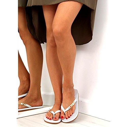 Mujer Flop Sintético de BAB762 Sandalias Flip buyAzzo Blanco Zx1TYw