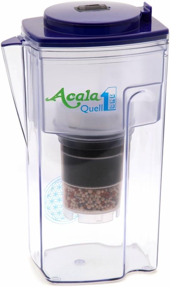 Filtro de agua AcalaQuell One | Jarra con filtro de agua | Azul | La filtración más alto rendimiento | Cartucho de filtro de varias capas | Principios de la naturaleza | Crea delicioso sabor y agua sa